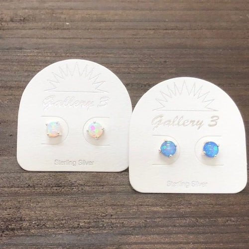 Sterling Silver 5mm Opal Earrings - Apothecary Gift Shop