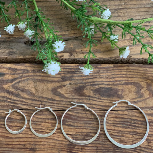 Flat Hoop Sterling Silver Earrings - Apothecary Gift Shop