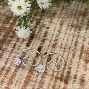 Small Open Hoop Swirl Earrings