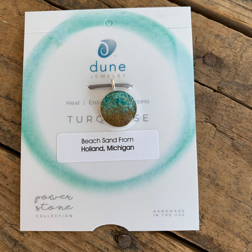 Sand and Turquoise Circle Pendant - Apothecary Gift Shop