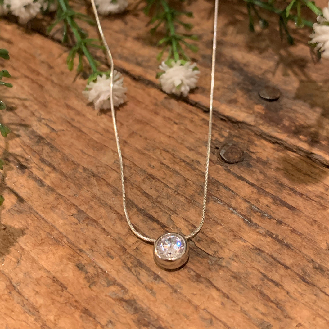 Round Slider CZ Pendant - Apothecary Gift Shop