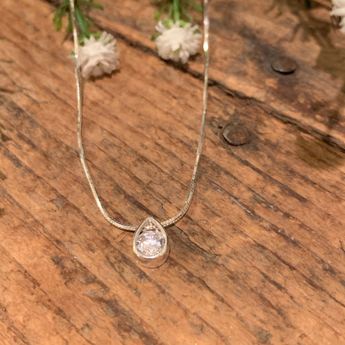 Teardrop Slider Pendant with CZ - Apothecary Gift Shop