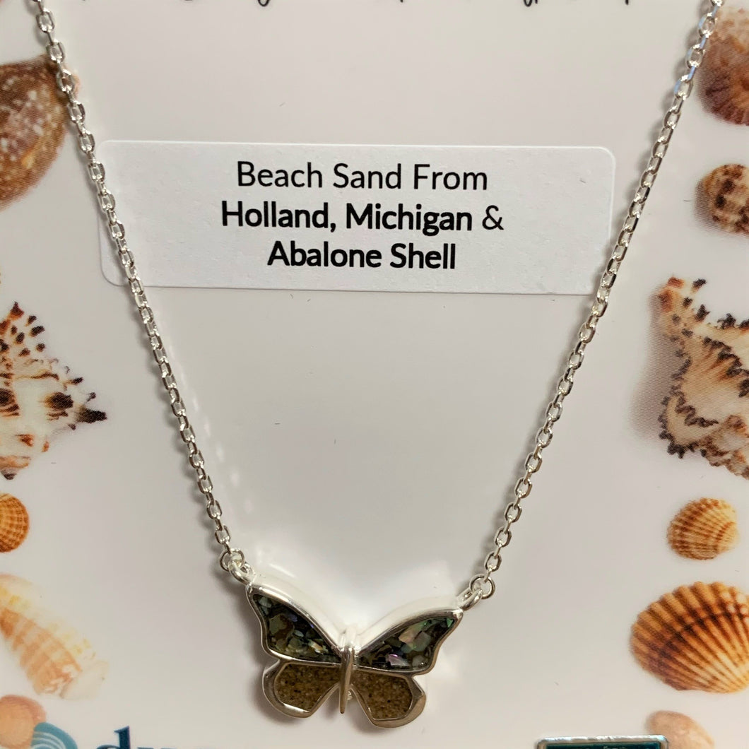 Beach Sand and Abalone Stationary Butterfly Necklace