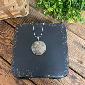 Large Circle Petoskey Stone Pendant Sterling Silver - Apothecary Gift Shop