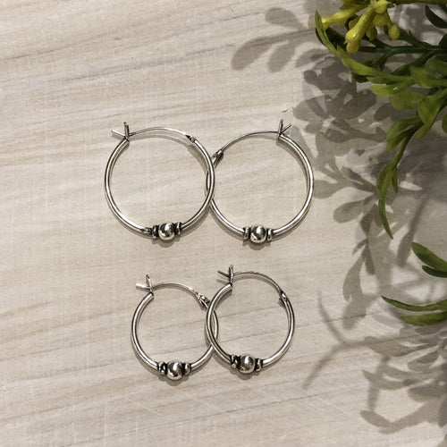 Sterling Silver Bali Hoop - Apothecary Gift Shop