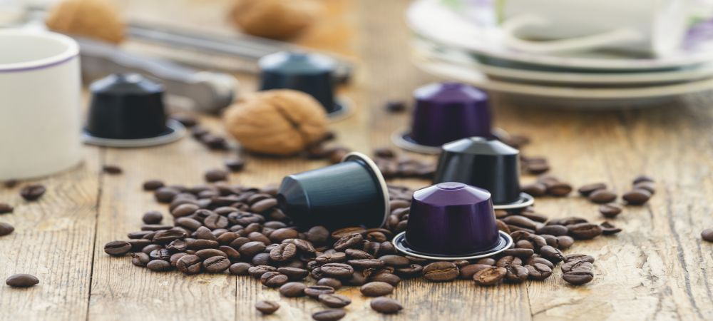 coffee pods with beans