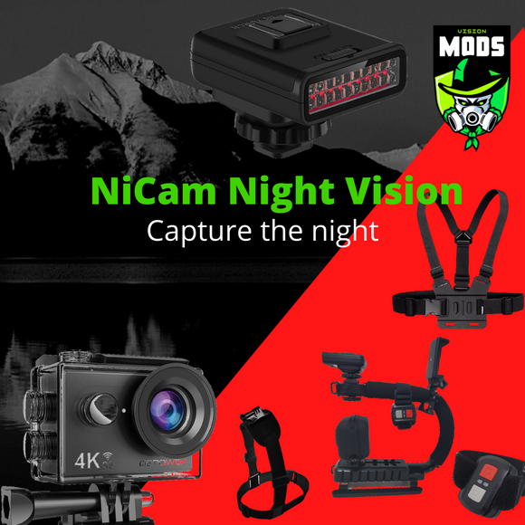 NiCam Night Vision Action Camera Rig Kit With Infrared Light