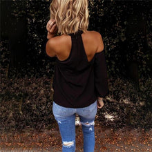 Load image into Gallery viewer, Fashion Solid Color Halter Neck Strapless T-Shirt Casual Sexy Long Sleeve Women T Shirts Lady Elegant Top Party Tee Shirt