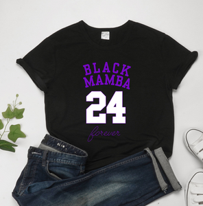 Kobe Memorial BLACK MAMBA 24 Short Sleeve Women's Casual T-Shirts