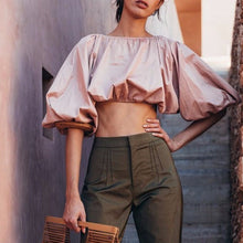 Load image into Gallery viewer, Backless Short Shirt Female Slash Neck Lantern Sleeve Large Size Crop Top Blouse 2018 Summer Fashion Sexy Clothing
