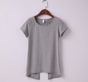 Sexy Brandy Melville AA Style Harajuku Camiseta Soft Back Slit Pullover T-Shirt Women Short Sleeve Tee dames kleding Top 3 Color