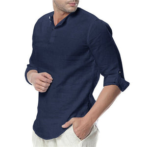 New Men's Summer Long Sleeve Cotton Linen Long Sleeve Cotton Casual Breathable Shirts Style Solid Male Shirts