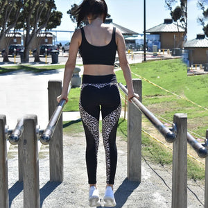 Sexy Leopard Heart Leggings Women Fitness Mesh Patchwork Legging Bodybuilding Breathable Jegings Pants