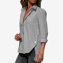 Load image into Gallery viewer, Women's Office Lady Chiffon Irregular Shirt Top Black White Red Long Sleeve Female Blouse