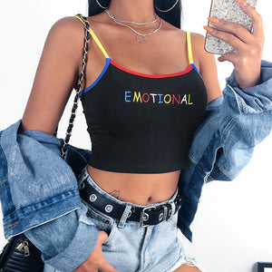 Black Print Kawaii Crop Tank Top Haut Femme Summer 2020 Edge Patchwork Contrast Color Cute Cropped Feminino Party Tops