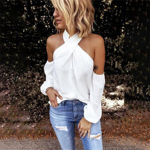 Fashion Solid Color Halter Neck Strapless T-Shirt Casual Sexy Long Sleeve Women T Shirts Lady Elegant Top Party Tee Shirt