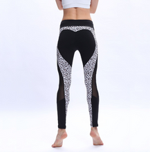 Load image into Gallery viewer, Sexy Leopard Heart Leggings Women Fitness Mesh Patchwork Legging Bodybuilding Breathable Jegings Pants