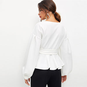 White Office Lady Elegant Lantern Sleeve Surplice Peplum Off the Shoulder Solid Blouse Autumn Sexy Women Tops And Blouse