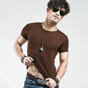 2019 Brand New Men T Shirt Tops V neck Short Sleeve Tees Men's Fashion Fitness Hot T-shirt For Male Free Shipping Size 5XL