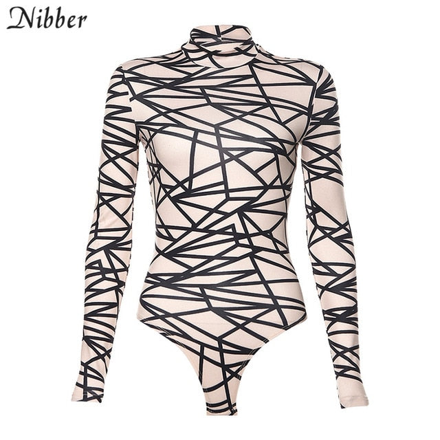 Nibber autumn printing Basic stretch Slim bodysuits women 2019 fall winter street leisure Thin long sleeve short jumpsuits mujer