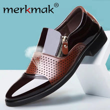 Load image into Gallery viewer, Merkmak Breathable Men Business Dress Shoes Formal Hollow Out  Suits Shoes Slip On Men Oxfords Leather Men Footwear Big Size 48