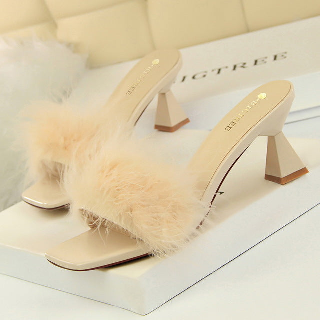 Korean-Style Fashion Slippers Woman with Thick with High Heels Square Head Open Toe 2020 New Furry Word Women Slippers