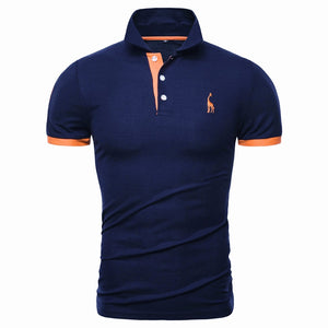 13 Colors Quality Men's Cotton Embroidery Polo Giraffe Shirt