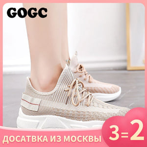 GOGC Summer Woman Sneakers mesh Shoes Female platform Lace Up Causal Shoe for Women basket femme Women Flat Shoe 691