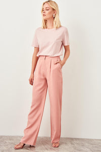 Trendyol Salmon Pink High Waist Straight Leg Pants Lyocell Women's Trousers 2019 Spring Office Lady Workear Pants TWOSS19BB0132