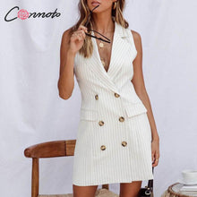 Load image into Gallery viewer, Conmoto Stripe Sleeveless Office Short Dress Women 2019 Autumn Winter Bodycon Pocket Blazer Dress Button Business White Dress