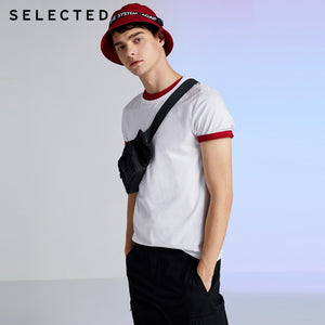 SELECTED Men's Summer 100% Cotton Pure Color Round Neckline Short-sleeved T-shirt S|419201508