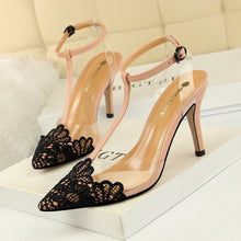 Load image into Gallery viewer, Korean-Style Evening Transparent Barefoot Shoes Fine with High Heels Lace Pointed-Toe T-Strap Sandals High Heels