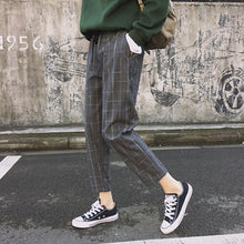 Load image into Gallery viewer, New Fashion Women Pants Pockets Plaid Womens Loose Casual Female High Waist Pant Females Korean Style Retro Chic Students Girls