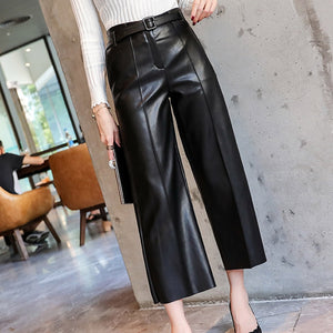 Autumn Faux PU Leather Pants Women With Belt High Waisted Wide Leg Anke-length Women's Trousers 2020 Spring NEW Fashion Clothes