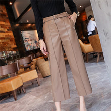 Load image into Gallery viewer, Autumn Faux PU Leather Pants Women With Belt High Waisted Wide Leg Anke-length Women's Trousers 2020 Spring NEW Fashion Clothes