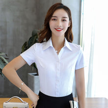 Load image into Gallery viewer, Womens Tops and Blouses Cotton Women Shirts Solid Women Blouses Short Sleeve White Plus Size XXXL/4XL Blusas Femininas Elegante