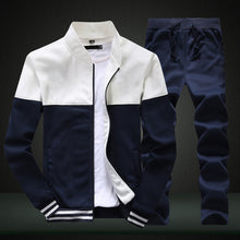Load image into Gallery viewer, 2019 New Men Sets Fashion Sporting Suit Brand Patchwork Zipper Sweatshirt +Sweatpants Mens Clothing 2 Pieces Sets Slim Tracksuit