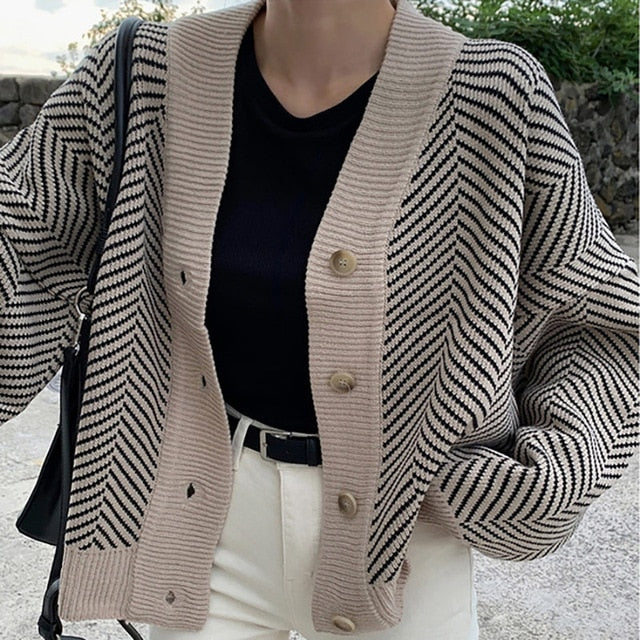Knitted Striped Cardigan Sweater Women Fashion Patchwork Top Autumn Winter 2020 Long Sleeve Casual Outwears V Neck Buttons Coat