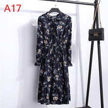 Load image into Gallery viewer, Women Casual Autumn Dress Lady Korean Style Vintage Floral Printed Chiffon Shirt Dress Winter Long Sleeve Bow Midi Dress Vestido