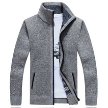 Load image into Gallery viewer, Winter Thick Men's Knitted Sweater Coat Off White Long Sleeve Cardigan Fleece Full Zip Male Causal Plus Size Clothing for Autumn