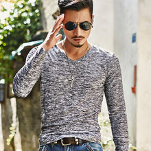 Load image into Gallery viewer, 2019  Men Casual T Shirts Long Sleeve  Tops Tees Shirt Mens Clothing Fashion V Neck Tshirt Undetshirts 3XL Oversized