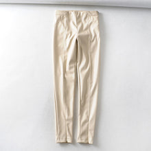 Load image into Gallery viewer, Tangada women white skinny PU leather pants stretch zipper female autumn winter pencil pants trousers 6A04