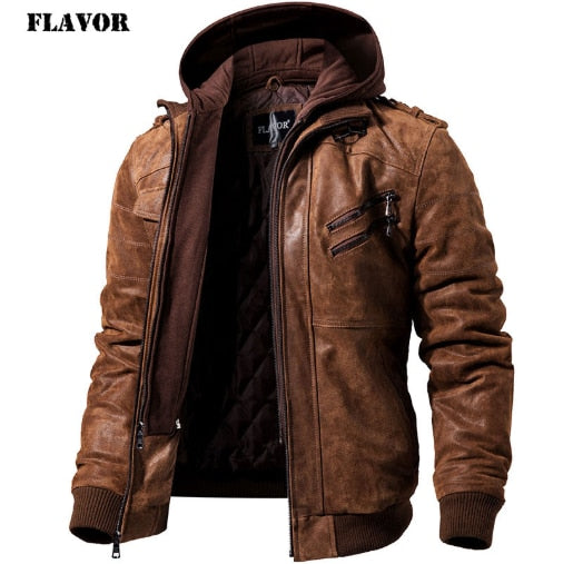 Men's Real Leather Jacket Men Motorcycle Removable Hood winter coat Men Warm Genuine Leather Jackets