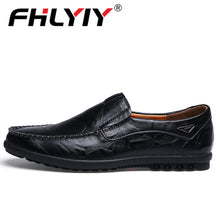 Load image into Gallery viewer, Genuine Leather Men's Casual Shoes Luxury Brand Mens Loafers Flats Breathable Slip on Black Driving Shoes Plus Size 38-47