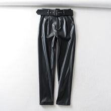 Load image into Gallery viewer, Tangada women black faux leather suit pants high waist pants sashes pockets 2019 office ladies pu leather trousers 6A05