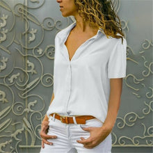 Load image into Gallery viewer, Women White Blouses Basic Selling Button Solid 2019 Autumn Long Sleeve Shirt Female Chiffon Women's Slim Clothing Plus Size Tops