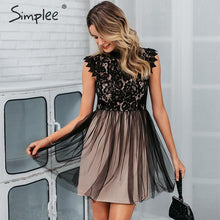 Load image into Gallery viewer, Simplee Women sleeveless lace dress Sexy embroidery floral black short party dress Ladies spring chic night club summer dress