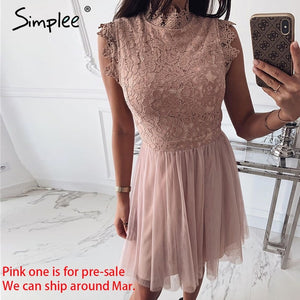 Simplee Women sleeveless lace dress Sexy embroidery floral black short party dress Ladies spring chic night club summer dress