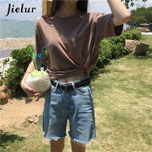 Load image into Gallery viewer, Jielur Tee Shirt 15 Solid Color Basic T Shirt Women Casual O-neck Harajuku Summer Top Korean Hipster White Tshirt S-XL Dropship
