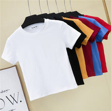 Load image into Gallery viewer, Crop Top T-Shirt Female Solid Cotton O-Neck Short Sleeve T-shirts for Women High Waist Slim Short Sport Blanc Femme T-Shirt